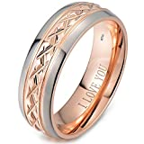 Mens Titanium Ring-7mm Wide Engraved I Love You Classic Unisex Rose Gold Tone Wedding Engagement Comfort Fit Band Ring