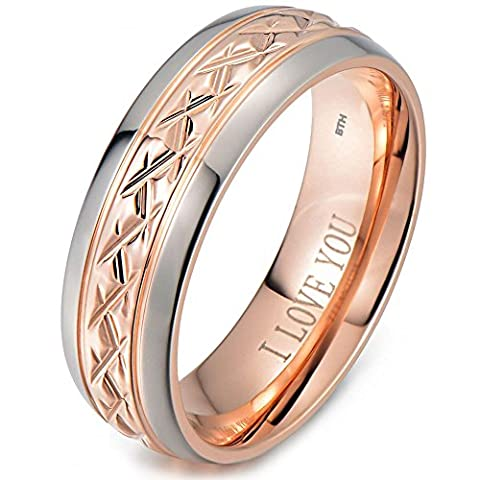 Mens Titanium Ring-7mm Wide Engraved I Love You Classic Unisex Rose Gold Tone Wedding Engagement Comfort Fit Band-