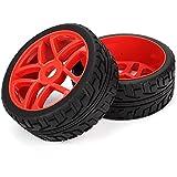 Youzone Plástico rojo Pentagram borde de la rueda con neumáticos de caucho de alto agarre para RC 1: 8 coche todoterreno (juego de 4)