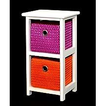 ts-ideen - Armario de suelo para baño (con 2 cestos, altura de 44cm), color naranja, blanco y lila