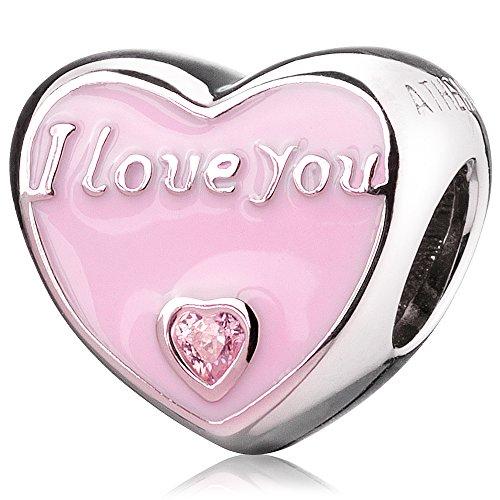 ATHENAIE 925 Sterling Silber Romantische Rosa Emaille CZ Ich Liebe Dich jeden Tag Charm Beads