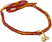 fourseven Red & Yellow Simplicity Moli Bracelet With Gold Om Charm For Men & Boys