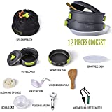TTLIFE Camping Cookware 12 SETS Mess Kits (Multifunctional Nonstick Pot,Pot Cover,Nonstick Pan,2 BPA Free Bowls,Folding Stainless Steel Spork,BPA Free Soup Spoon,Wooden Spoon Spatula,loofa,Nylon Pouch,Magnesium Fire Starter,BPA Free Dish)