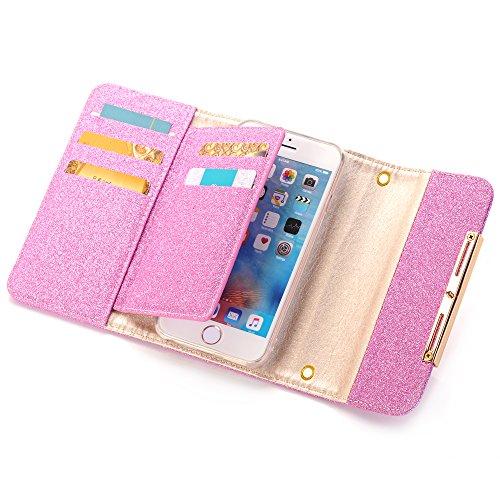 iPhone 6 Plus Hülle, iPhone 6s Plus Case Glitzer, 6 Plus Tasche Bling,iphone plus 6 Handyhülle Flip, Einfarbig Muster Handbag Bling Shinny Glitzer Gliter Kristall Crystal Handytasche für Apple iPhone  Rosa