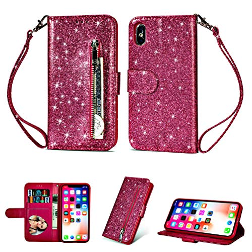 LaVibe Coque iPhone XS Max 6.5 Pouces, Housse en Cuir PU Leather Etui Portefeuille à Rabat Glitter Clapet Support Fermeture éclair Porte Video Stand, Flip Wallet Protective Case Cover–Rose Rouge