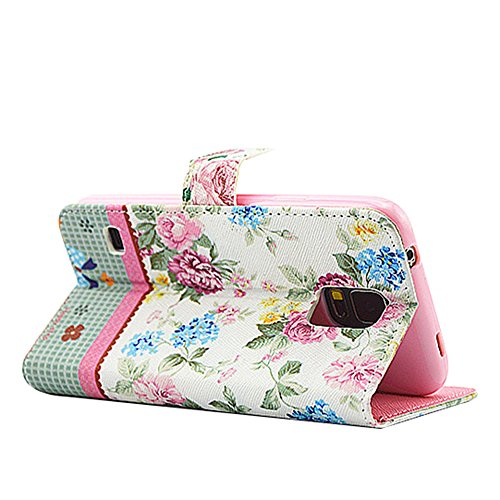 PowerQ L Bling Rhinestone bunte Muster Holster Serie Hülle Case für Iphone6Plus (5.5 Inch) IPhone 6 Plus 6S IPhone6S PU-Kasten-Beutel mit Glitter-Diamant-Muster-Druck Crystall Druckzeichnung Geldbörse Grün-rosa Blüte