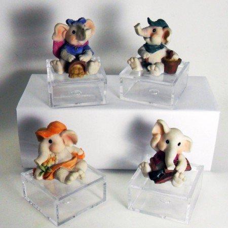 Bomboniere (4 bomboniere) scatoline con elefantini portafortuna