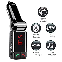 AusleseTM High Performance Digital Wireless Bluetooth Fm Transmitter,in-car Bluetooth Receiver,fm Radio Stereo Adapter,car Mp3 Player with Bluetooth Handsfree Calling and Dual USB Charging Port(5v 2a),perfect for Apple,samsung,htc,lg or Other Smartphone & tablet