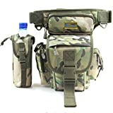 T Tocas Water Resistant Multi-functions Oxford Fishing Shoulder Waist Bag with Cup Pouch (Camouflage( 29cm *22cm *12cm))