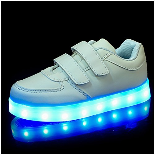 Esportivos Jovem Brilhante Branco Calçados Tênis Led Sapatilha amp; Um M Menina vTXw0nqU