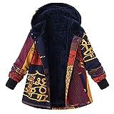 Manteau en Coton Grande Taille, GreatestPAK Femmes Hiver Lâche Chaud Imprimé Africain Poches Épaisses Hasp Capuche Outwear