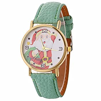 Christmas Quartz Watches,ulanda-eu Xmas Santa Claus Creative Pattern Analog Lady Wrist Watch Female Watches On Sale Watches For Women,round Dial Case Comfortable Leather Wristwatch Ss5 (Mint Green) 0