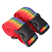 Zeltauto Ripstop Utility Travel Luggage Packing Belt Ratchet Tie Down Strap with Side Release Buckle Clip, 74 x 2 Inch, 2 Pcs (Rainbow)