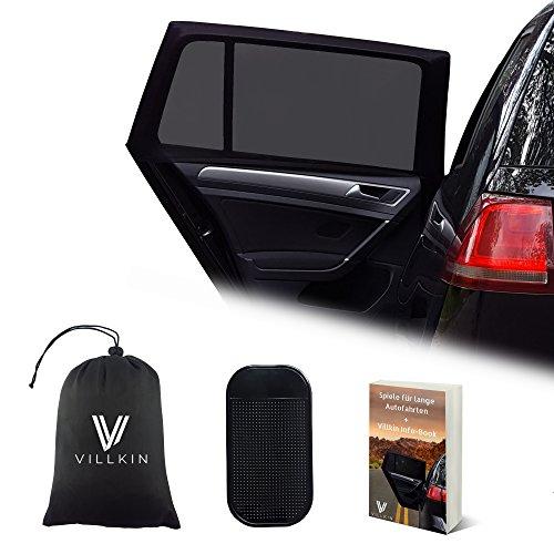 Preisvergleich Produktbild 2x Auto-Sonnenschutz von Villkin, für Kinder und Babys universell passend mit UV-Schutz - 3x BONUS: Anti-Rutsch-Matte, Tasche, E-Book - Sonnenblende Schwarz