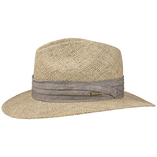 Stetson Chapeau en Paille Caney Seagrass Homme - de Plage Soleil Traveller avec Ruban Gros Grain Printemps-ete