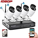 Yeskam CCTV Camera System Wireless 1080P 4 Channel Security NVR Recorder with 2.0 Megapixel Outdoor Surveillance Cameras Preinstalled with 2TB Hard Drive for Home Remote View on Smartphone App