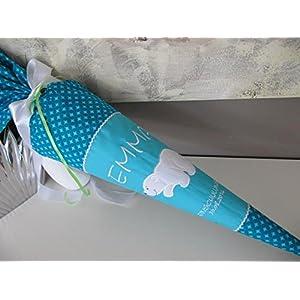 Eisbär türkis Schultüte Stoff + Papprohling + als Kissen verwendbar
