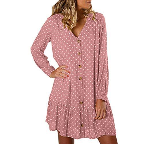 DENGZI Boho Kleid Damen Dot Beach Mini Kleid mit V-Ausschnitt Button Down Rüschen Langarm (Mesh-rüschen Kleid Mini)