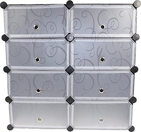Heavy Duty Metal Shoe Rack Deluxe - Black With White Doors - 15kg Capacity Per Metal Shelf (Large)