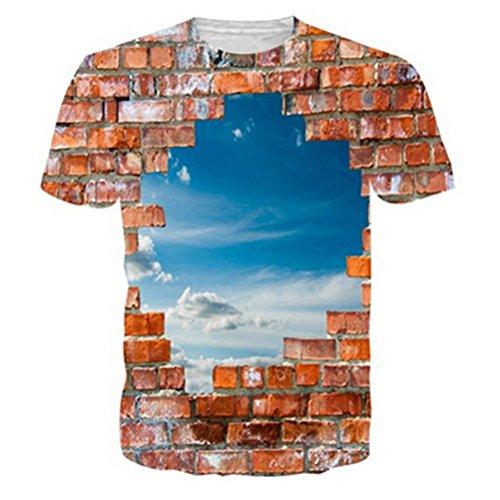 Uideazone Männer 3d Blue Sky von Brick-T-Shirt Lustiges (Anzüge Lustige Männer)