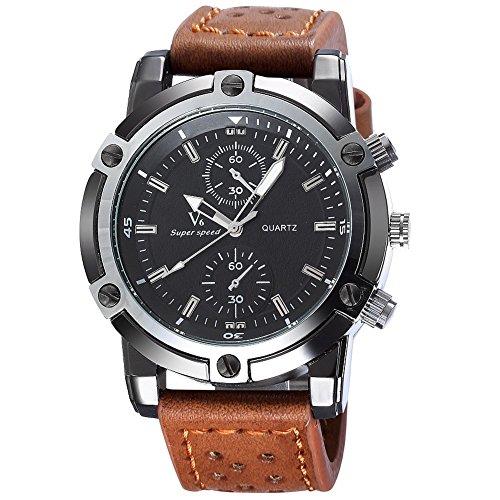 BlueVega Military Design Lederarmband Quarzuhr beiläufige Männer-Khaki-Armband