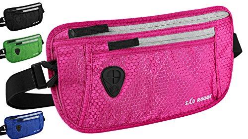 São Roque flache Bauchtasche - Gürteltasche mit RFID Blocker - Hüfttasche - Reise Geldgürtel - Money Belt für Damen und Herren (Pink)