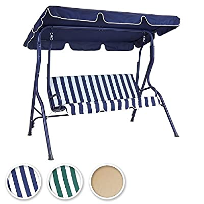 Bentley Garden 2 Seater Outdoor Swing Seat Chair Hammock - Available In Green Striped, Blue Striped and Beige - inexpensive UK light shop.