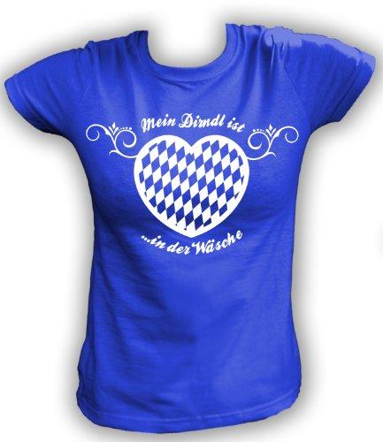 Artdiktat T-Shirt Mein Dirndl ist in der Wäsche Damen, Größe XXL, blau (2012 Schürze)