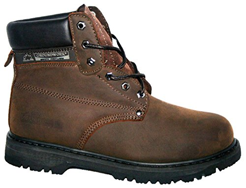 MENS GROUNDWORK SK21 STEEL TOE CAP LACE UP SAFETY WORK BOOT (UK8,...