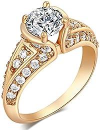 La Vogue Bague Anneau Solitaire Pavé Femme Fiançailles Alliance Mariage Jewelry Magnifique 9#