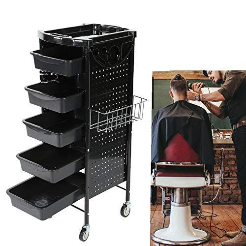 Friseurwagen, Regalwagen mit 6 Etagen und rollenden Rädern, Schublade mit großer Kapazität für Beauty Hair Salon Tattoo