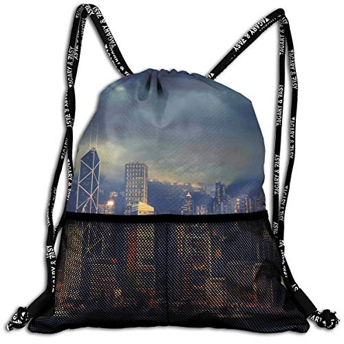 AZXGGV Drawstring Backpack Rucksack Shoulder Bags Gym Bag Sport Bag,Hong Kong Cityscape Stormy Weather Dark Cloudy Sky Waterfront Port Dramatic View