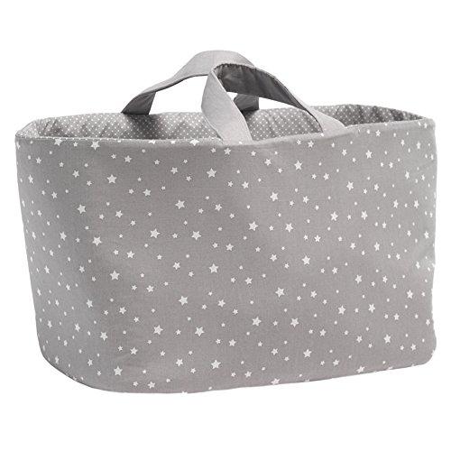 Funny Baby Stars - Bolsa juguetero oval de tela, diseño estrellas, 30 x 45 x 27 cm, color gris