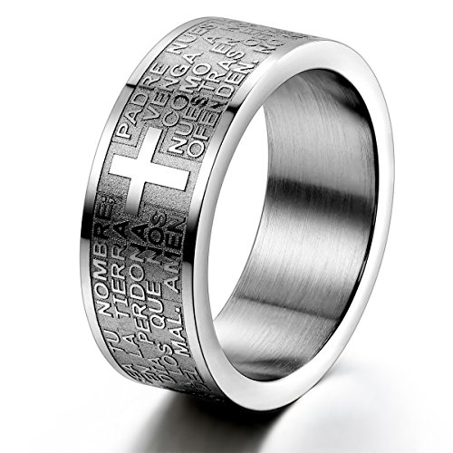 JewelryWe Schmuck Herren-Ring, Damen-Ring, Edelstahl, Bibel Gebet Kreuz, Silber, Größe 54