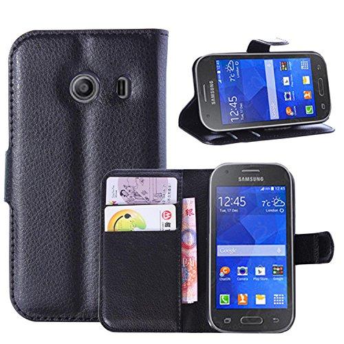 Tasche für Samsung Galaxy Ace Style G310 Hülle, Ycloud PU Ledertasche Flip Cover Wallet Case Handyhülle mit Stand Function Credit Card Slots Bookstyle Purse Design schwarz