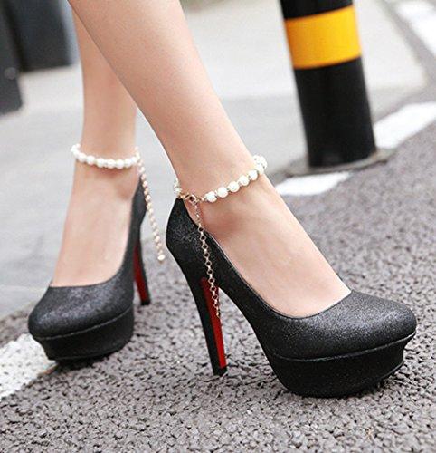 Aisun Damen Sexy Künstliche Perlen Kette Plateau Stiletto Schwarz