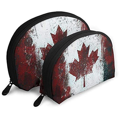 Kunst der kanadischen Flagge WomenTravel Kosmetiktaschen wasserdichtes GewebeKleine Make-up Clutch Pouch Bag -