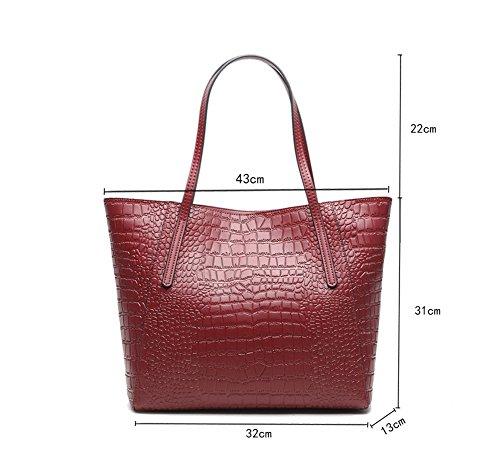 Womens Luxury Crocodile Grain PU Leder Handtaschen und Geldbörsen Tote Umhängetasche Rot