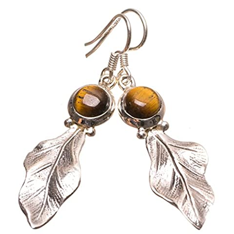 StarGems(tm) Natural Tiger Eye Handmade Mexican 925 Sterling Silver Earrings 2