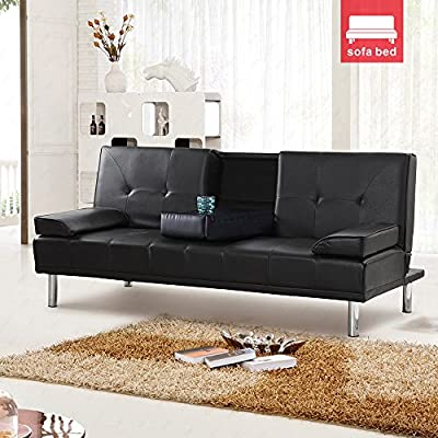 UEnjoy Design Luxury Style Fold Down Sofa Bed Black Faux Leather With Drink Holders