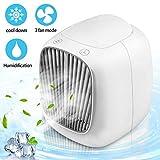Mini Luftkühler, Nasharia Mini Air Cooler 3 in 1 Persönliche Klimageräte USB Tragbare Klein Persönliche Klimaanlage Luftkühler, Luftbefeuchter und Luftreiniger für Home Office Draussen