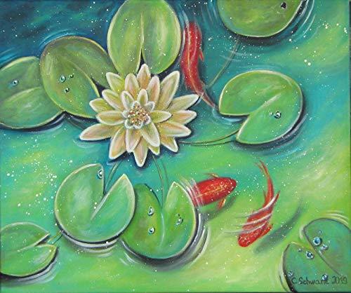 Acrylgemälde GOLDFISCH TRIO 60cm x 50cm - gemalt Original Bild Seerose -