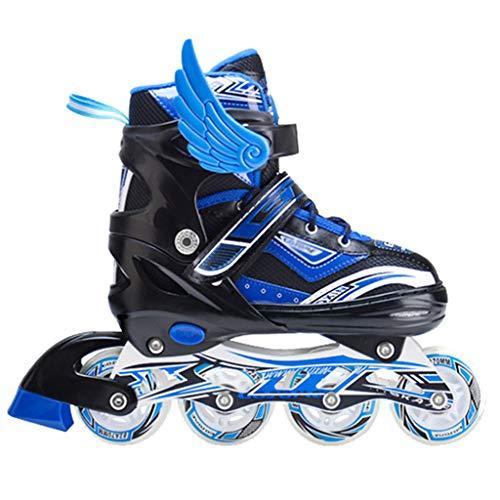 wthfwm Roller Blades Inline Quad Skates Einstellbare Größe Kinder Pro Combo Multi Eislaufschuhe Schuhe Mit Helm und Schutzkleidung,Blue Package-L -