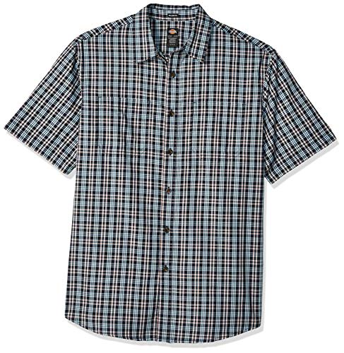 Dickies Herren Yarn Dyed Plaid Short Sleeve Shirt Big-Tall Button Down Hemd, Rinsed Dark Navy, 3X -