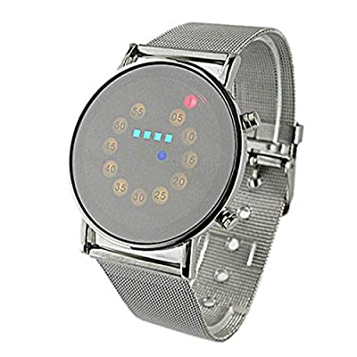 Tonsee Red + Yellow + Green + Blue LED Light Stainless Steel Fashion Wrist Watch - cheap UK light shop.
