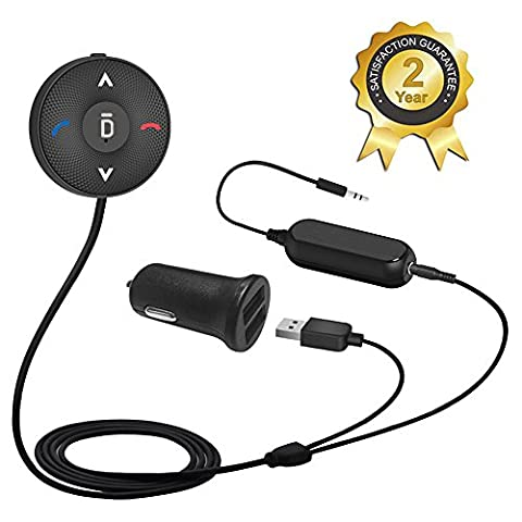 Besign Récepteur Audio Bluetooth 4.1 avec Chargeur USB de voiture 2A Dual Port Récepteur Bluetooth Voiture Adaptateur Bluetooth Audio Kit Mains-libres avec Micro intégré, sortie AUX 3,5 mm, Clip d'évent d'air et Isolateur de Terre de Bruit
