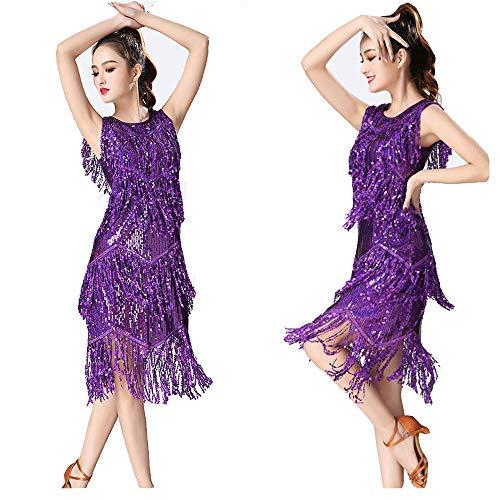 Zgsjbmh Frauen Dancewear Pailletten Fransen Quasten Rhythm Salsa Ballsaal Samba Tango Latin Dance Dress Wettbewerb Kostüme Swing Rumba Dress Fringe Flapper Kostüm Kleid (Farbe : Lila, Größe : - Lila Flapper Kostüm