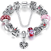 Wostu 2016 Queen Jewelry Silver Charms Bracelet with Queen Crown Beads