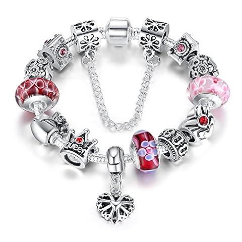 MASOP Bracelet Charms Plaqué Argent Fleur Verre Rose Avec Perles