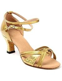 Minetom Mujer Moda Sandalias Elegante Latín Tango Baile Zapatos Verano Medianos Talón Sandalias